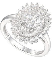 1 ct. t.w. round & baguette shape diamond ring in 14k white gold