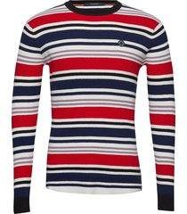 longsleeve tee in 3d waffle with deck chair stripes stickad tröja m. rund krage multi/mönstrad scotch & soda