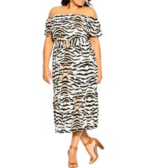 city chic tigress off the shoulder dress, size x-small at nordstrom