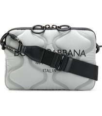 dolce & gabbana padded zip-up shoulder bag - grey