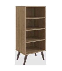 estante retrô com 3 prateleiras oak completa móveis