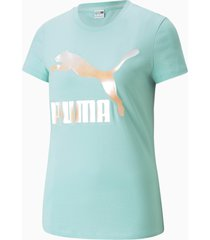 classics t-shirt met logo dames, blauw/wit, maat l   puma