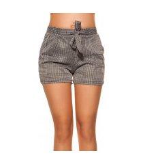 trendy shorts geruit met riem zwartwit