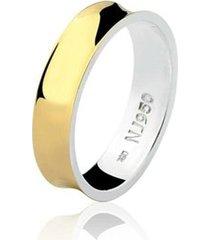 aliança mista ouro 18k e prata 925 styllo natalia joias alm-155
