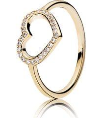 anel de ouro grande coração