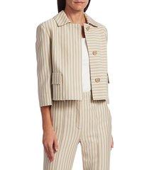 akris punto women's back pleat striped short jacket - desert sand - size 8