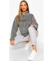 half zip woman embroidered fleece hoodie, charcoal