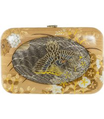 silvia furmanovich vintage japanese fabric wood clutch - gold