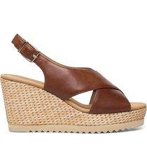 ankle-stap sandal sandalette med klack espadrilles brun gabor