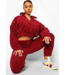 korte sweater met nepwollen kraag, berry