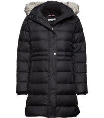 new tyra down coat, gevoerde lange jas zwart tommy hilfiger