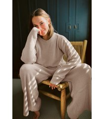 womens love you culotte knit sweater and pants lounge set - oatmeal
