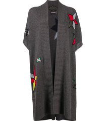 zadig & voltaire indiana embroidered poncho - grey