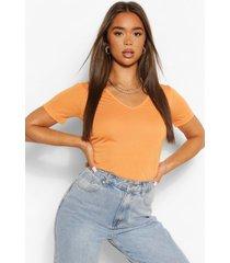 basic superzacht t-shirt met v-hals, tangerine