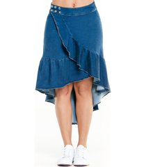 falda denim asimétrica con boleros