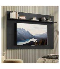 """painel tv 65"""" com prateleira amsterdá plus multimóveis preto"""