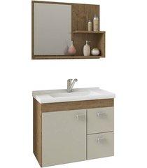 gabinete suspenso para banheiro hortência 46x55cm carvalho e off white