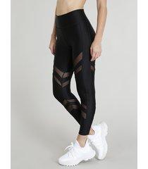 calça legging feminina esportiva ace com recortes em tule preta