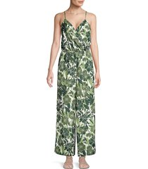 ava & aiden women's floral cami jumpsuit - green - size xs