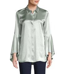 bell-sleeve silk blouse