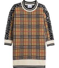 burberry check leopard print dress