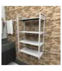 prateleira industrial banheiro aço cor branco 60x30x98cm (c)x(l)x(a) cor mdf branco modelo ind48bb
