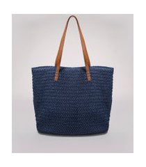 bolsa feminina grande shopper em palha alças duplas azul marinho