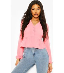 button front peplum top, coral