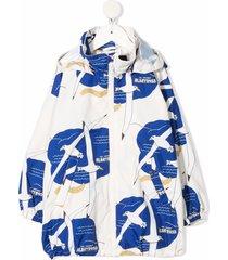 mini rodini albatross-print jacket - neutrals