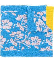 barrie new delft cashmere scarf - blue