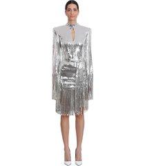 balmain dress in silver tech/synthetic