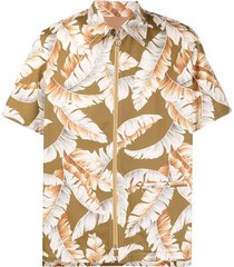anglozine feather-print zip-up shirt - brown