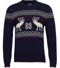 jim holiday sweater gebreide trui met ronde kraag blauw lexington clothing