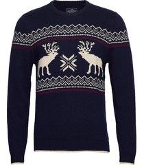 jim holiday sweater gebreide trui met ronde kraag blauw lexington clothing