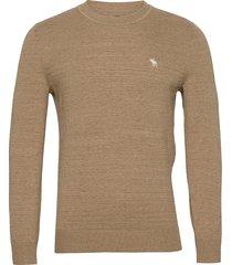 anf mens sweaters stickad tröja m. rund krage brun abercrombie & fitch