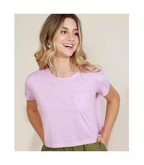 blusa feminina básica cropped com bolso manga curta decote redondo lilás