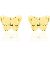 orecchini a lobo in oro giallo farfalla per donna
