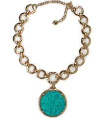 """patricia nash gold-tone link & round leather pendant necklace, 28"""" + 3"""" extender"""