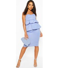 bandeau peplum midi dress, blue