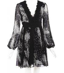 giambattista valli black printed silk lace dress black sz: s