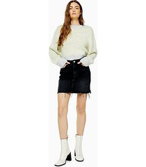 black wash denim mini skirt - washed black