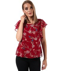 vero moda womens becca floral cap sleeve top size 14 in red