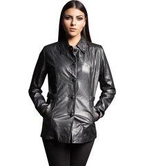 casaco parra couros feminino 3/4 preto