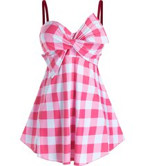 plus size plaid twist bowknot skirted tankini swimwear