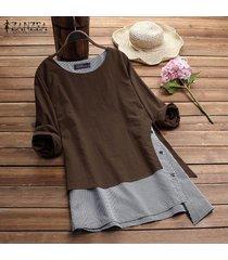 zanzea mujeres cuello redondo suéter superior tee camisa de tela escocesa check plus tamaño túnica de la blusa -café