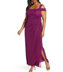plus size women's alex evenings cold shoulder glitter column gown, size 14w - purple