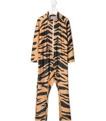 mini rodini tiger-print swimsuit - brown