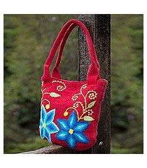 wool shoulder bag, 'andean morning glory' (peru)