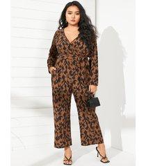 mono de manga larga con diseño de abrigo de leopardo con cuello en v y talla grande yoins