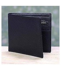men's leather wallet, 'ebony minimalist' (india)